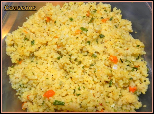 Prepare your couscous and set aside. Heat up in small pan 1 tbsp butter...