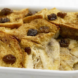 Bread Pudding with Bananas and Raisins.