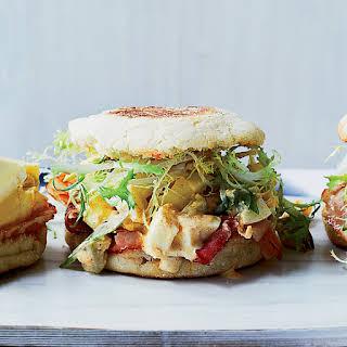 Ham and Deviled Egg Breakfast Sandwiches.