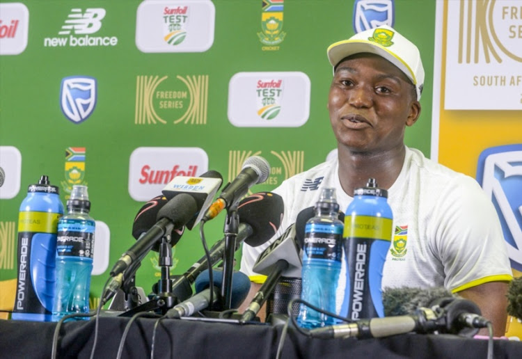 Lungi Ngidi of South Africa expresses his elation as he takes questions from the media in a press conference that followed his test debut, in which the tall Protea took his first wicket during day 2 of the 2nd Sunfoil Test match between South Africa and India at SuperSport Park on January 14, 2018 in Pretoria.