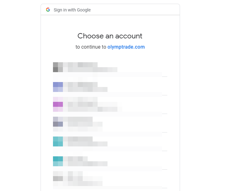 selecting gmail account email when creating olymp trade account in 2021