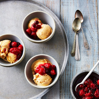 No-Churn Pumpkin Ice Cream With Cranberry-Raspberry Compote