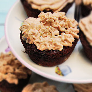 Chocolate & Banana Muffins W/ Chocolate Ricotta Icing