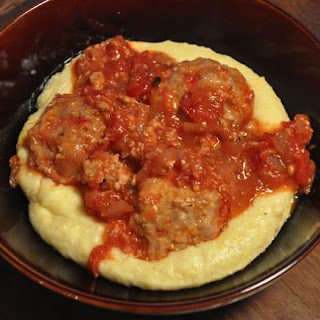 Spicy Pork Meatballs with Spicy Meat Sauce and Soft Polenta Recipe