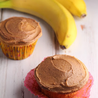 Banana Caramel Cupcakes with Chocolate Peanut Butter Frosting.