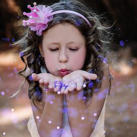 Spreading Magic by Louise Lacante - Babies & Children Child Portraits ( magic, glitter )