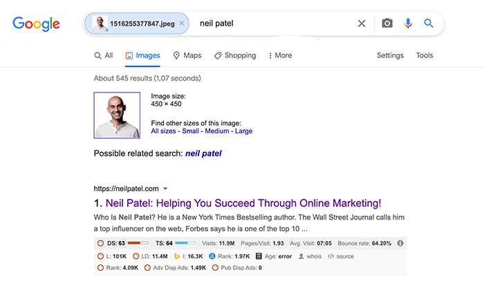 neil patel reverse image search results