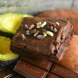 FUDGY CHOCOLATE AVOCADO-BROWNIE with SWEET POTATO CHOCOLATE FROSTING.