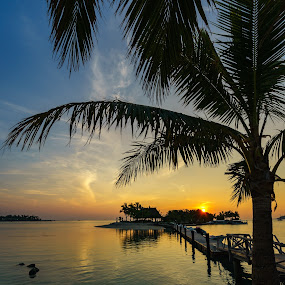Plantation Island Sunset by Mick McKean - Landscapes Travel ( water, structure, tod, building, time of day, lagoon, plants, jetty, landscape, sun, palms, island, grass hut, palm tree, sunset, sundown, resort, bar )