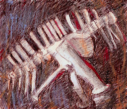 """Photo: Wandering Nomads Bone Image, 2011, 19cm x 16.5cm, 7.5""""x6.5"""", mostly archival inks, sepia, black, red, orange, and oil pastels, Moleskine sketchbook.  Fishbones, dinosaur bones, ivory piano keys of the mind playing its strange music, I don't know. When I sat to draw an image for the poem, a vertebrae emerged.  There is a poem with this image, but it's too long for Picasa's word limit. Read it at my blog: http://brendaclews.blogspot.com/2011/03/whirling-stillness.html"""
