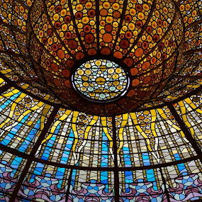 Glass Beauty by John Crongeyer - Buildings & Architecture Architectural Detail ( interior, blue, colorful, glass, barcelona, spain, stained glass, religious )
