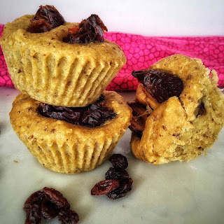 Vegan Banana Breakfast Muffins With Caramelized Dates.