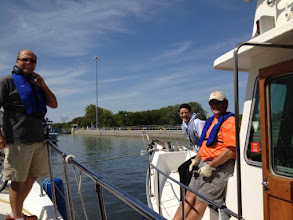 Photo: Ross, Lisa and Darrell rafted together in the Dresden Lock.