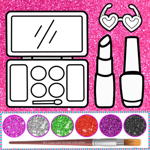 Glitter beauty coloring and drawing Icon