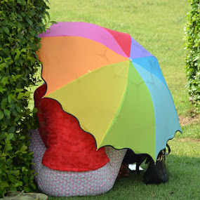 Under the rainbow shadow by Gonzalo Ruiz - People Street & Candids ( park, umbrella, rainbow )