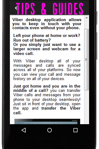 android Free for Viber Tips & Guides Screenshot 2