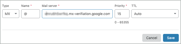 All fields of the MX verification record are complete.