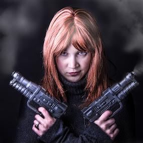 Smoke by Christopher Mazzoli - People Portraits of Women ( cosplay, red, girl, pistol, woman, portrait, red head, smoke, gun, best female portraiture )