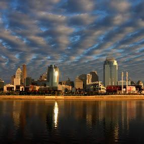 Cincinnati Ohio by Karen Harris - City,  Street & Park  Skylines ( water, clouds, skyline, sky, ohio river, reflections, bridge, cityscape, cincinnati, river )