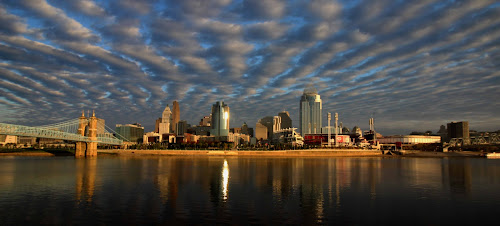 Cincinnati Ohio by Karen Harris - City,  Street & Park  Skylines ( water, clouds, skyline, sky, ohio river, reflections, bridge, cityscape, cincinnati, river )