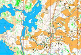 Photo: 1 km x 1 km and 100 m x 100 m graticule of the Finnish uniform coordinate system (kkj3, ykj) burned onto a Karttapullautin png image automatically with an R program (http://www.r-project.org/) script
