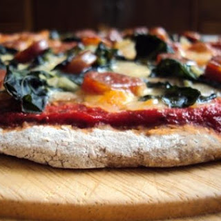Chinese Sausage and Spinach Pizza.