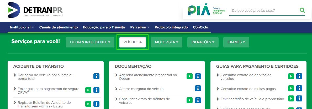 Clique em veiculo para consultar veículos no Detran PR