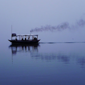 Into nowhere... by Jaydev Chakraborty - Transportation Boats ( water, abstract, peace, solitude, sail, boat )