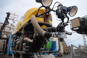 Photo: NURTEC's Kraken2 ROV is a science class vehicle, equipped with a number of lights, cameras, sensors, and sampling gear (Photo credit: A. David/NOAA NMFS)