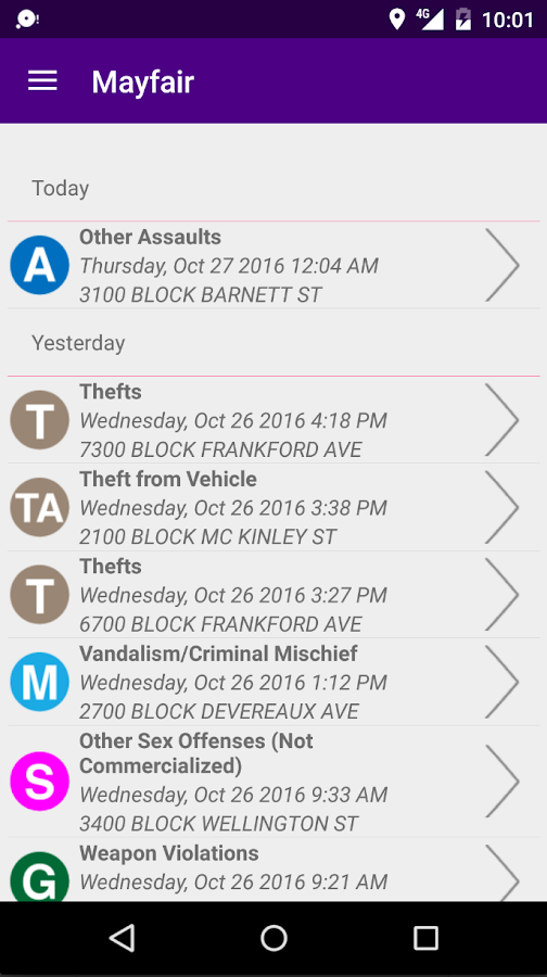PhillyBlotter- screenshot