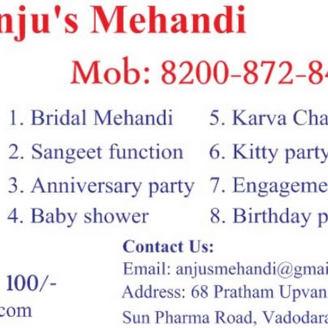 Anju's Mehandi - Mehandi design and classes in Vadodara