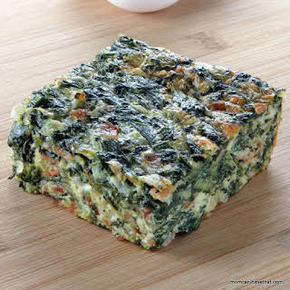 Crustless Spinach Bacon and Cheese Quiche.