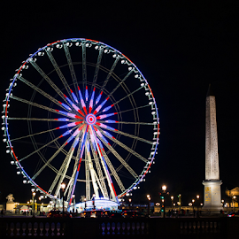 Place Concorde by Photoxor AU - City,  Street & Park  Amusement Parks ( paris, colorful, night, france, place concorde,  )