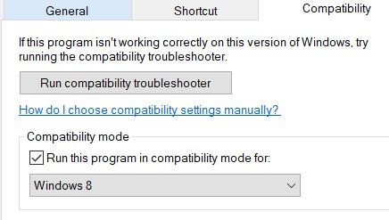 Compatibility tab in an application properties window