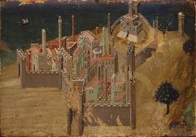 Sassetta, Città sul mare (veduta di Talamone), (1340 circa), Siena, Pinacoteca, precedentemente attribuita ad Ambrogio Lorenzetti