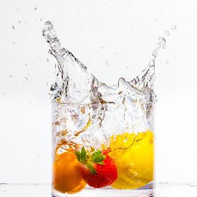 Fruit Splash by Jim DeMicco - Food & Drink Fruits & Vegetables ( water, orange, splash, fruitsplash, strawberry, lemon )