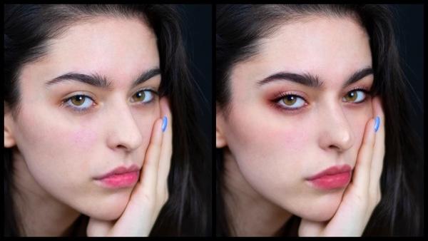 antes e depois da foto de uma mulher branca sendo que uma foi editada com a maquiagem Rose do AirBrush
