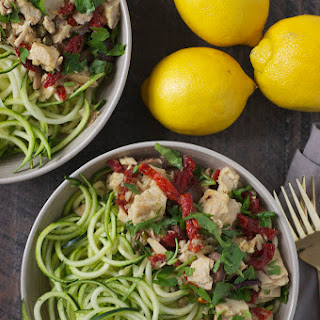 Zucchini Noodles with Tuna Puttanesca.