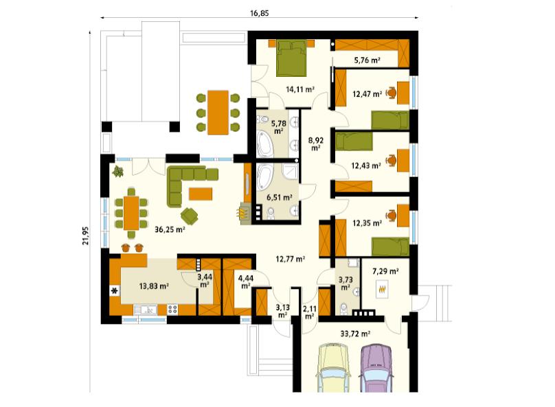 Rzut domu parterowego - przykładowe powierzchnie