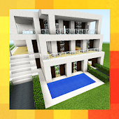Three modern houses. Map for MCPE