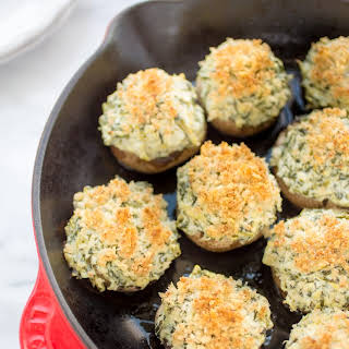 Spinach and Artichoke Stuffed Mushrooms.