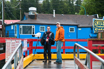 Photo: Peter and Brad on the dock next to the B&B
