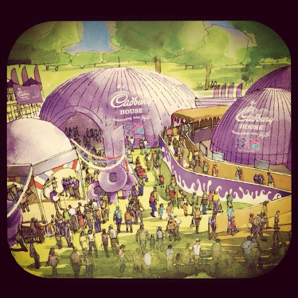 Photo: Giant, inflatable, purple domes filled with chocolatey +Joy - what's not to +1?