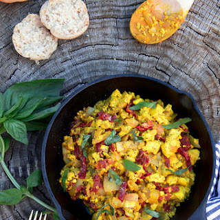 Tofu Scramble with Sundried Tomatoes and Basil.