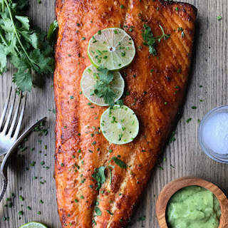 Whole30 Red Curry Salmon with Avocado Crema.