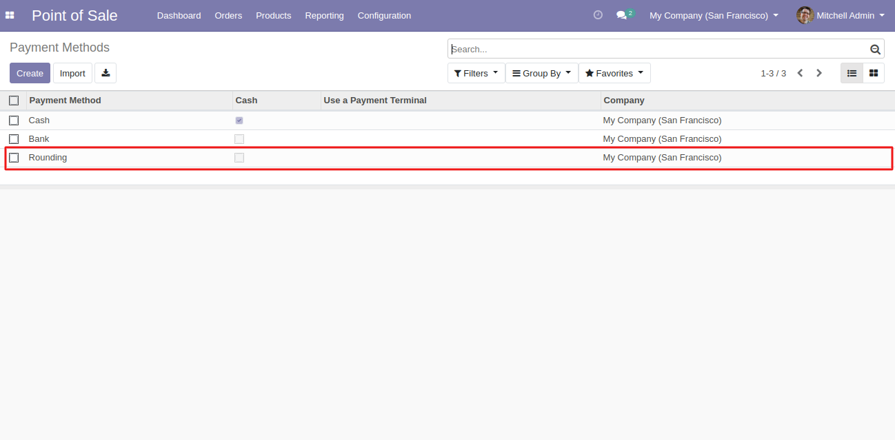 Configure the payment method for using rounding off.
