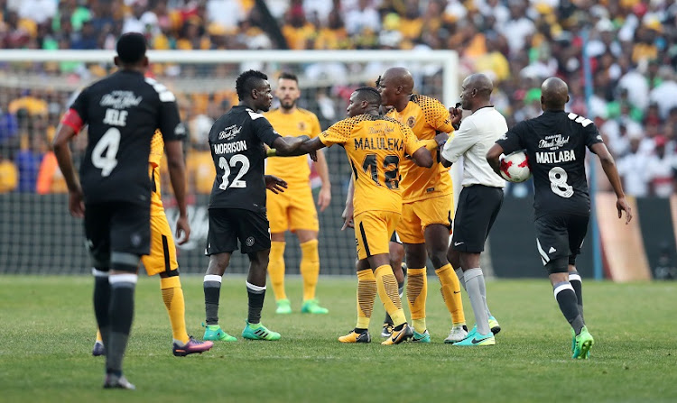 Players shaking hands during the Absa Premiership match between Orlando Pirates and Kaizer Chiefs at FNB Stadium on March 03, 2018 in Johannesburg, South Africa.