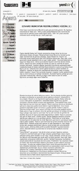 Photo: 6- Edvard Munch'un Resimlerinde Hüzün 2, Nalan Yılmaz, 5 Kasım 2001 Pazartesi, Hürriyet Agora