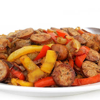 Sausages, Peppers and Onions Made Deliciously Skinny.