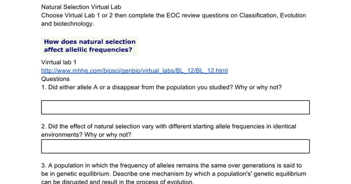 Virtual Natural Selection Lab